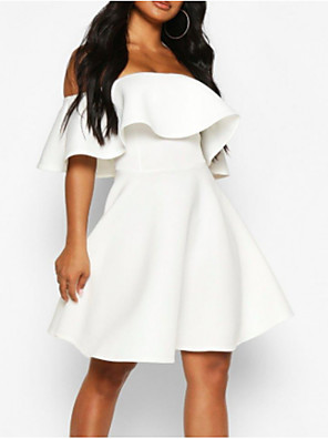 cheap Free Shipping-Back To School A-Line Hot White Holiday Cocktail Party Dress Off Shoulder Short Sleeve Short / Mini Polyester with Ruffles 2020 Hoco Dress