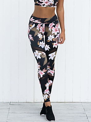 cheap Leggings-Women's Sporty Basic Skinny Jogger Sweatpants Pants - Plants Floral Print Tropical Leaf, Classic Sporty Patchwork Black S / M / L