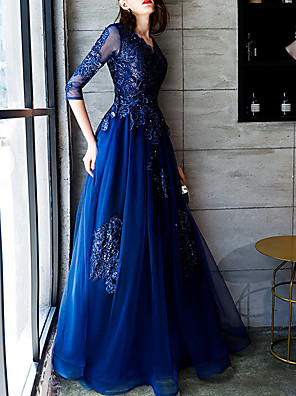 cheap Prom Dresses-A-Line Elegant Blue Party Wear Formal Evening Dress V Neck 3/4 Length Sleeve Floor Length Polyester with Appliques 2020