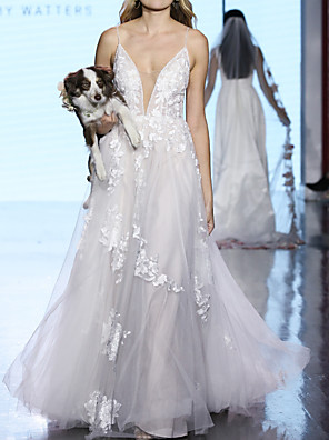 cheap Wedding Dresses-A-Line Plunging Neck Sweep / Brush Train Polyester / Tulle Sleeveless Boho Plus Size Wedding Dresses with Draping / Appliques 2020