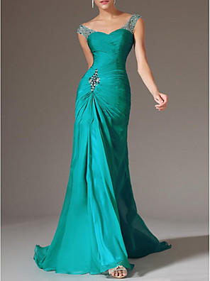 cheap Evening Dresses-Mermaid / Trumpet Elegant Engagement Formal Evening Dress Scoop Neck Sleeveless Court Train Polyester with Crystals Draping 2020
