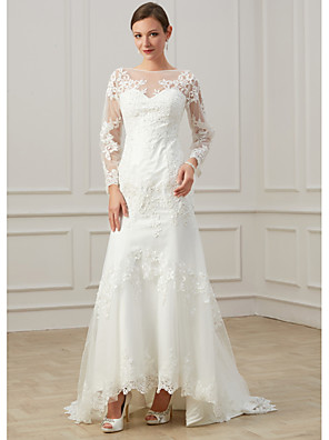 cheap Evening Dresses-Sheath / Column Wedding Dresses Jewel Neck Sweep / Brush Train Lace Tulle Long Sleeve Formal Plus Size Illusion Sleeve with Draping Appliques 2020