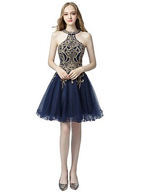 cheap Prom Dresses-A-Line Sexy Blue Homecoming Cocktail Party Dress Halter Neck Sleeveless Knee Length Tulle with Crystals Appliques 2020