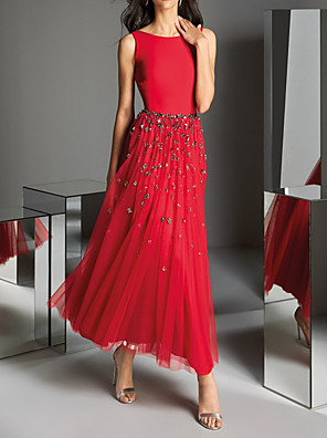 cheap Evening Dresses-A-Line Elegant Red Wedding Guest Formal Evening Dress Jewel Neck Sleeveless Ankle Length Polyester with Pleats Crystals Sequin 2020