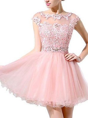 cheap Prom Dresses-A-Line Hot Pink Homecoming Cocktail Party Dress Illusion Neck Sleeveless Short / Mini Polyester with Beading Appliques 2020