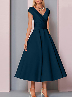 cheap Prom Dresses-A-Line Mother of the Bride Dress Elegant V Neck Tea Length Charmeuse Sleeveless with Ruching 2020