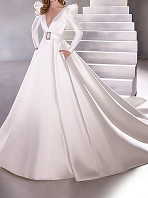 cheap Wedding Dresses-A-Line Wedding Dresses Plunging Neck Court Train Satin Long Sleeve Vintage Plus Size with Sashes / Ribbons 2020