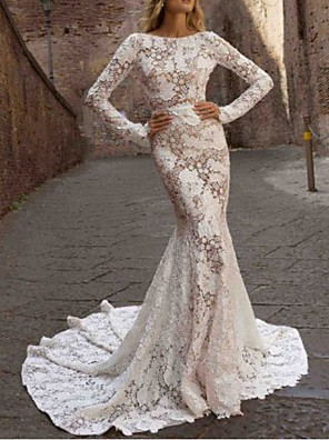 cheap Evening Dresses-Mermaid / Trumpet Wedding Dresses Jewel Neck Sweep / Brush Train Polyester Long Sleeve Country See-Through Plus Size Illusion Sleeve with Draping Appliques 2020
