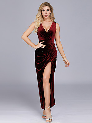 cheap Wedding Dresses-A-Line Sexy Red Party Wear Formal Evening Dress V Neck Sleeveless Floor Length Velvet with Split 2020
