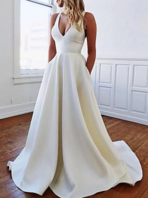 cheap Evening Dresses-A-Line Wedding Dresses Plunging Neck Sweep / Brush Train Stretch Satin Sleeveless Sexy Plus Size with Bow(s) Draping 2020