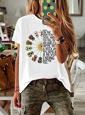 cheap Women's T-shirts-Women's T-shirt Geometric Short Sleeve Loose Tops Cotton White Black Red