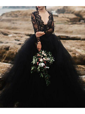 cheap Wedding Dresses-Ball Gown Wedding Dresses V Neck Sweep / Brush Train Polyester Long Sleeve Beach Plus Size Black Modern with Draping Appliques 2020