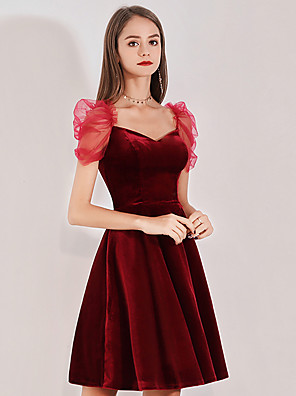 cheap Cocktail Dresses-Back To School A-Line Vintage Red Party Wear Cocktail Party Dress V Neck Short Sleeve Short / Mini Velvet with Pleats 2020 Hoco Dress