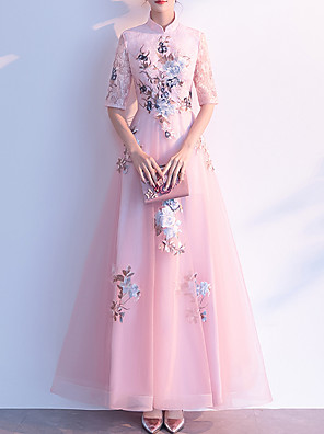 cheap Evening Dresses-A-Line Chinese Style Party Wear Prom Dress High Neck Half Sleeve Floor Length Tulle with Appliques 2020