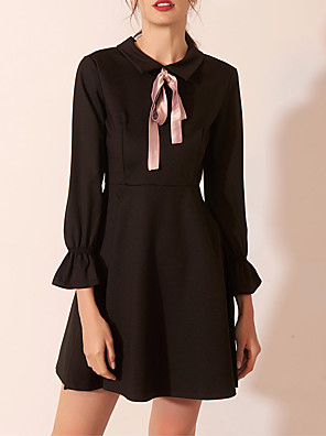 cheap Cocktail Dresses-Back To School A-Line Little Black Dress Black Homecoming Cocktail Party Dress Jewel Neck Long Sleeve Short / Mini Spandex with Bow(s) 2020 Hoco Dress