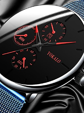 cheap Quartz Watches-Men's Dress Watch Quartz Stylish Titanium Alloy Black / Silver Casual Watch Analog Casual Fashion - Black+Gloden Red+Blue Red One Year Battery Life