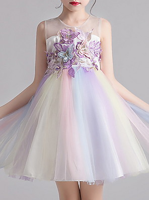 cheap Girls' Dresses-Kids Girls' Color Block Animal Dress White