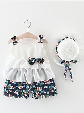 cheap Baby Girls' One-Piece-Baby Girls' Street chic Print Sleeveless Regular Clothing Set Blue