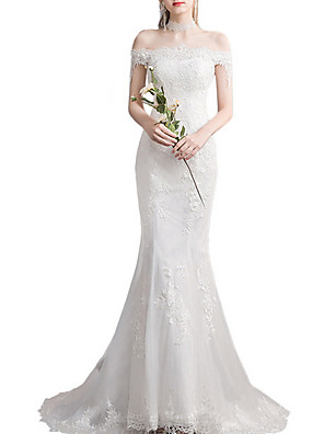 cheap Wedding Dresses-Mermaid / Trumpet Wedding Dresses Off Shoulder Sweep / Brush Train Lace Tulle Sleeveless Country Plus Size Backless with Lace Insert Appliques 2020