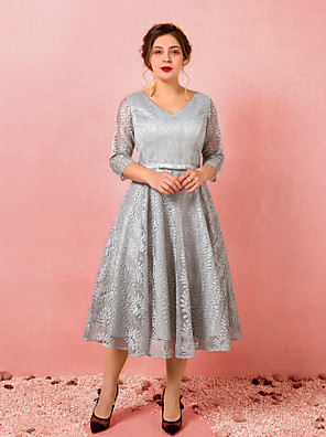 cheap Prom Dresses-A-Line Plus Size Grey Homecoming Cocktail Party Dress V Neck 3/4 Length Sleeve Tea Length Lace Satin with Bow(s) 2020