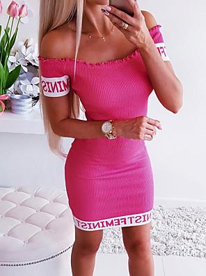 cheap Mini Dresses-Women's Mini Bodycon Dress - Short Sleeves Solid Color Off Shoulder Slim Red Gray S M L XL