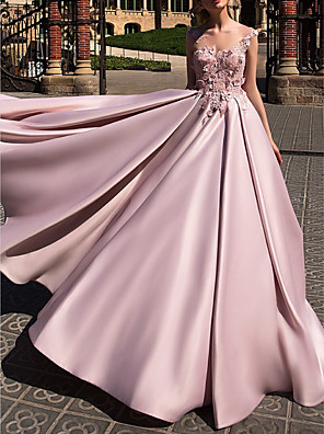 cheap Evening Dresses-Ball Gown Beautiful Back Pink Engagement Prom Dress Illusion Neck Sleeveless Court Train Polyester with Appliques 2020