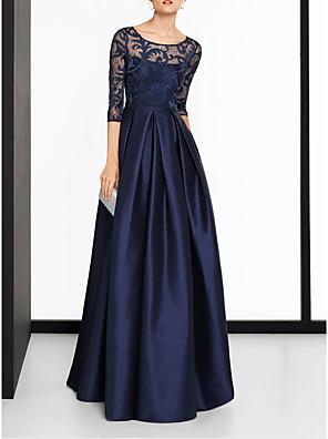 cheap Evening Dresses-A-Line Elegant Blue Wedding Guest Formal Evening Dress Scoop Neck Half Sleeve Sweep / Brush Train Satin with Split Lace Insert 2020