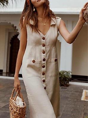 cheap Romantic Lace Dresses-Women's Plus Size Dress - Sleeveless Button Summer V Neck Casual Vacation 2020 Black Blue Red Fuchsia Beige S M L XL XXL XXXL XXXXL XXXXXL