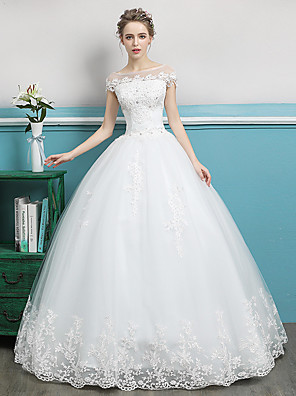 cheap Wedding Dresses-Ball Gown Wedding Dresses Bateau Neck Floor Length Lace Tulle Polyester Short Sleeve Romantic with Lace Crystals 2020