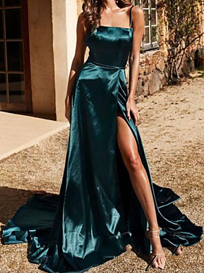 cheap Prom Dresses-A-Line Sexy Prom Formal Evening Dress V Neck Sleeveless Sweep / Brush Train Polyester with Split 2020
