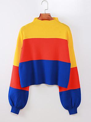 cheap Bikinis-Women's Striped / Color Block Long Sleeve Pullover Sweater Jumper, Crew Neck Fall / Winter Yellow S / L
