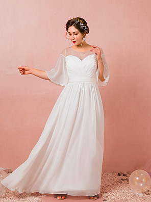 cheap Prom Dresses-A-Line Empire White Engagement Prom Dress Illusion Neck Jewel Neck Half Sleeve Floor Length Chiffon with Pleats Ruched 2020