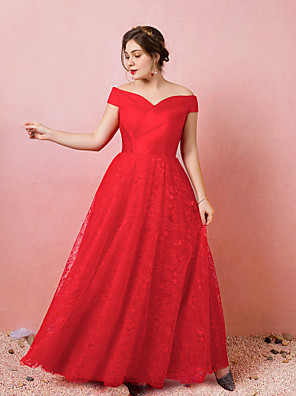cheap Plus Size Dresses-A-Line Plus Size Red Engagement Prom Dress Off Shoulder Short Sleeve Floor Length Lace Satin Tulle with Criss Cross Pleats 2020