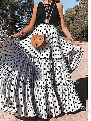 cheap Women's Skirts-Women's Vacation / Holiday Beach Wear / Boho Maxi Swing Skirts - Polka Dot Polka Dots White Purple Yellow S M L