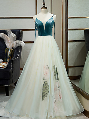 cheap Evening Dresses-A-Line Floral Turquoise / Teal Engagement Prom Dress V Neck Sleeveless Floor Length Tulle Velvet with Embroidery 2020
