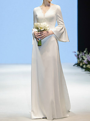 cheap Evening Dresses-A-Line Wedding Dresses V Neck Sweep / Brush Train Lace Satin Long Sleeve Simple Elegant with Lace Lace Insert 2020