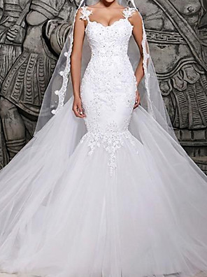 cheap Wedding Dresses-Mermaid / Trumpet Wedding Dresses Spaghetti Strap Court Train Polyester Sleeveless Country Plus Size with Lace Insert Appliques 2020
