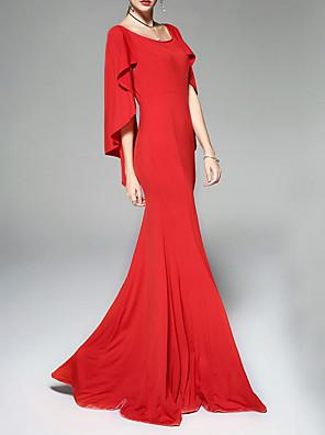 cheap Evening Dresses-Sheath / Column Mother of the Bride Dress Elegant Jewel Neck Floor Length Polyester Sleeveless with Draping 2020