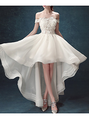 cheap Wedding Dresses-A-Line Off Shoulder Asymmetrical Chiffon / Tulle Sleeveless Formal Illusion Detail / Plus Size Wedding Dresses with Draping / Lace Insert / Appliques 2020