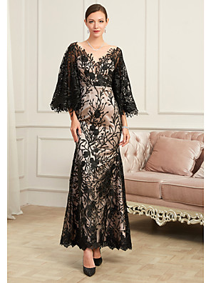 cheap Evening Dresses-Sheath / Column Sexy Black Party Wear Formal Evening Dress V Neck Half Sleeve Floor Length Lace Tulle with Beading Appliques 2020