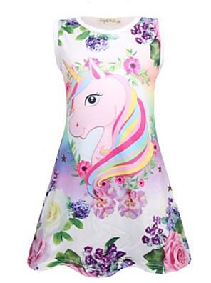 cheap Girls' Dresses-Kids Girls' Basic Butterfly Cartoon Print Sleeveless Knee-length Dress Purple
