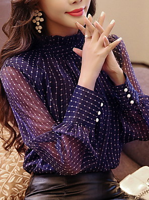 cheap Women's Blouses & Shirts-Women's Blouse Polka Dot Tops White Navy Blue