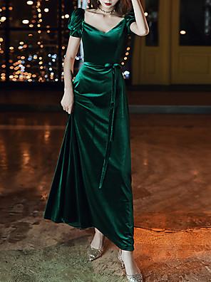 cheap Evening Dresses-A-Line Green Retro Prom Formal Evening Dress V Neck Short Sleeve Floor Length Velvet with Sash / Ribbon 2020