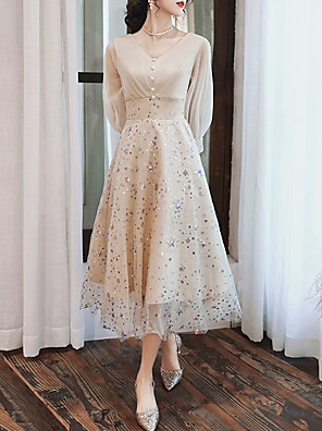 cheap Mother of the Bride Dresses-A-Line Glittering Spring Graduation Prom Dress V Neck 3/4 Length Sleeve Tea Length Tulle with Beading Sequin 2020