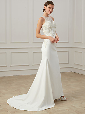cheap Wedding Dresses-Mermaid / Trumpet Wedding Dresses Jewel Neck Sweep / Brush Train Lace Tulle Sleeveless Formal Illusion Detail Plus Size with Draping Appliques 2020
