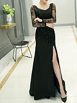 cheap Cocktail Dresses-Sheath / Column Elegant Black Engagement Formal Evening Dress Jewel Neck Long Sleeve Sweep / Brush Train Polyester with Sequin Split Appliques 2020