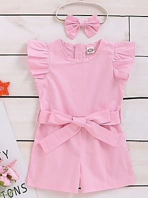 cheap Baby Girls' One-Piece-Baby Girls' Basic Solid Colored Short Sleeves Romper Blushing Pink