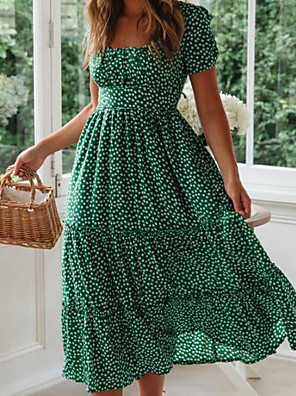 cheap For Young Women-Women's A-Line Dress Midi Dress - Short Sleeves Polka Dot Summer Deep U Casual / Daily Boho 2020 Black Red Yellow Green S M L XL