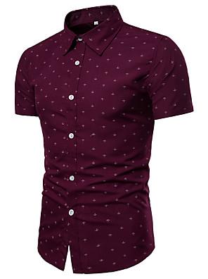 cheap Men's Shirts-Men's Geometric Slim Shirt Basic Daily Wine / White / Navy Blue / Short Sleeve