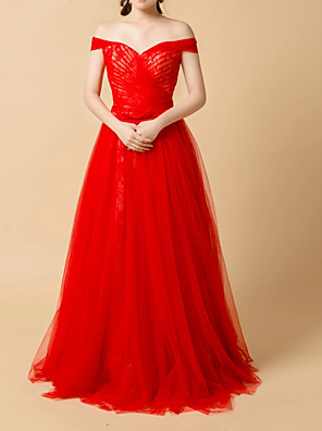 cheap Prom Dresses-Ball Gown Elegant Red Engagement Prom Dress Off Shoulder Sleeveless Floor Length Tulle with Pleats Lace Insert 2020